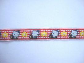 Sierband Offwhite/rood met poes en bloem  12mm