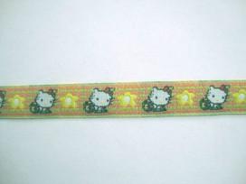 Sierband Lime/zalm met poes en bloem  12mm