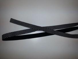 Elastisch biaisband met stip zwart/wit 6030