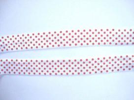 Elastisch biaisband met stip Wit/rood 6033
