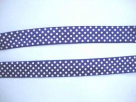 Elastisch biaisband met stip Paarsblauw/wit 6034
