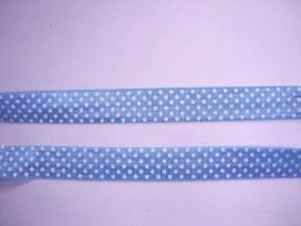5g Elastisch biaisband met stip Lichtblauw/wit 6036