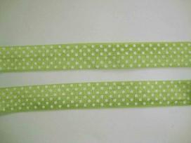 5h Elastisch biaisband met stip Lime/wit 6037