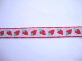 Sierband Fruit Zachtroze met aardbeien  15mm