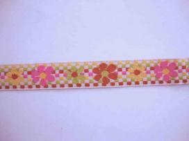 Hollands sierband BB ruit multicolor met multicolor bloem 351hb