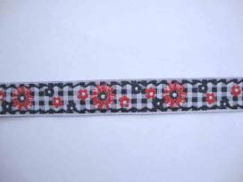 7w Hollands sierband BB ruit zwart met rode bloem 352hb