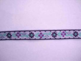 9av Sierband bloem Lila met paarse bloem 13mm 335