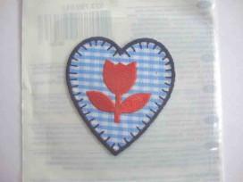 Hollandse applicatie Hartje blauwe ruit met tulp ha755