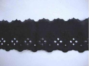 Katoen Zwart kant met borduursel en 5 gaatjes 40mm