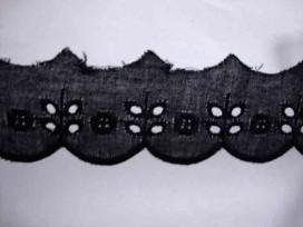 7x Zwart katoen kant met 4 gaatjes en cirkel 25mm. 962