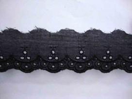 Katoen kant Zwart met gaatjesgolf en 3 gaatjes 30mm