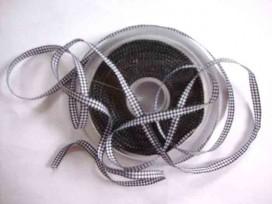 8b Boerenbont lint Zwart/wit geruit 5mm 462
