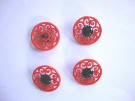 Kinder bloemknoop Open oranje met zwart hart kbk66