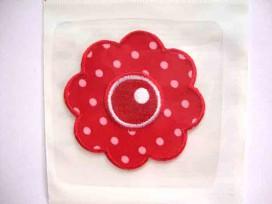 1aax Bloem applicatie Grote rode bloem met stip 719
