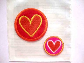 Hartjes applicatie 2 cirkels groot en klein met hart