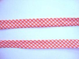 Oranje geblokt biaisband. 100% katoen 2 cm. breed