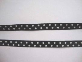 8z Satijnband Zwart met stip 10mm. 795