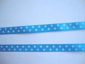 Satijnband Aqua met stip 10mm