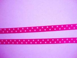 8u Satijnband Pink met stip 10mm. 800