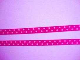 Satijnband Pink met stip 10mm