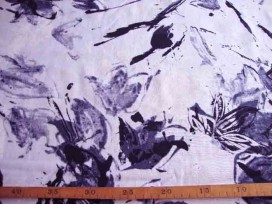7ej Visc/lin Wit met zwart/grijze bloemprint 101652-32PL
