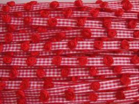 Sierlint Boerenbont Rood met roosjes 10mm