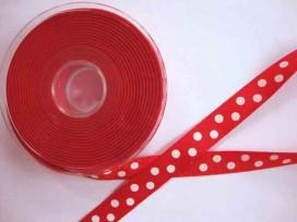 Ribsband rood met een witte stip en 16 mm. breed.