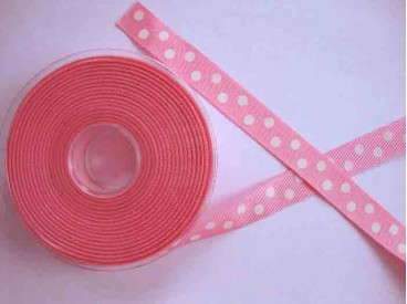 4b Ribsband met stip Roze 16mm. 1270-16