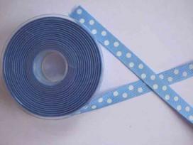 Ribsband met stip Lichtblauw 16mm. 1545-16