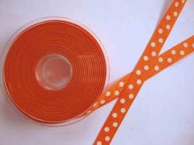 4e Ribsband met stip Oranje 16mm. 1139-16