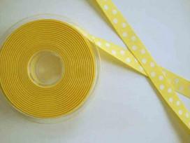 Ribsband met stip Geel 16mm. 1026-16