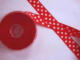 Ribsband met stip Rood 25mm. 1325-25