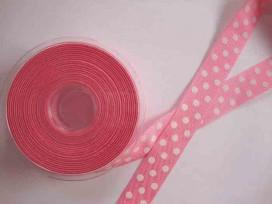 5b Ribsband met stip Roze 25mm. 1270-25