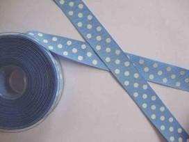 5c Ribsband met stip Lichtblauw 25mm. 1545-25