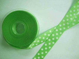 Ripsband met stip Lime 25mm. 1813-25