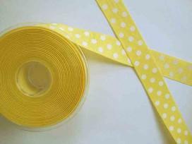 Ripsband met stip Geel 25mm. 1026-25