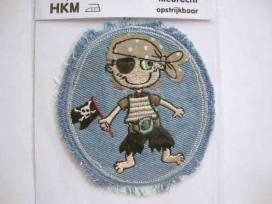 9n Applicatie lichtjeans ovaal met jongens piraat 3022