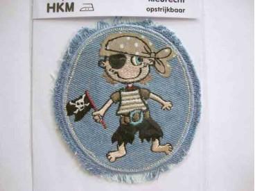 Applicatie lichtjeans ovaal met jongens piraat
