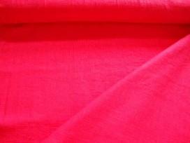 Een helder rode heavy linnen van 55% linnen en 25% katoen. Door de zware kwaliteit ook geschikt voor winterkleding. 1.40 mtr. br