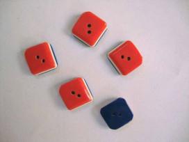 Hollandse knoop Rood/wit/blauw vierkant 15mm. hk143
