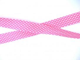 Biaisband Roze met witte stip