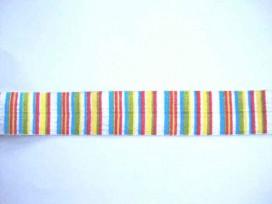 Elastisch biaisband met groen, geel, rood, blauwe streepjes.  2 cm. breed