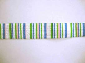 Elastisch biaisband met kobalt, groen en gele streepjes.  2 cm. breed