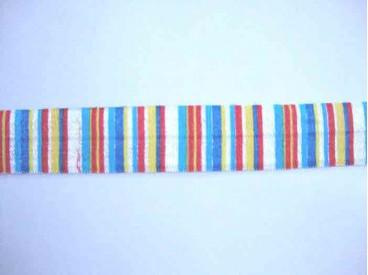 Elastisch biaisband met blauw, geel en rode streepjes.  2 cm.br.