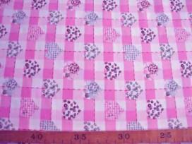 Roza-Dotje Roze met BB ruit en hartjes RD2