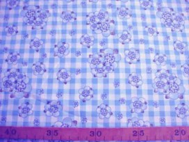 Rosa-Dotje Lichtblauw met BB ruit en bloem RD6