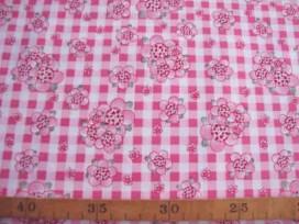 Rosa-Dotje Pink met BB ruit en bloem RD9