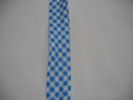 Lichtblauw geblokt biaisband. 100% katoen 2 cm. breed