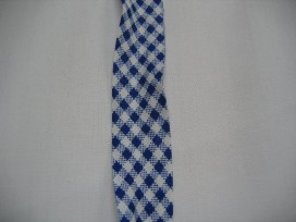 Blauw geblokt biaisband. 100% katoen 2 cm. breed