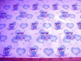 Kinder tafelzeil  Wit met lichtblauwe hartjes en beestjes